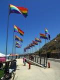 De regenboogvlaggen van Tel Aviv Stock Afbeeldingen