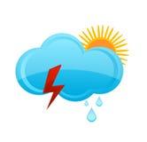 De regenwolk van het weer en zonsymbool Royalty-vrije Stock Foto's