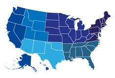 De regionale kaart van de V.S. stock illustratie
