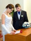 De registratie van het huwelijk Stock Foto