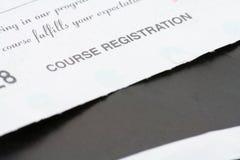 De registratieontvangstbewijs van de cursus Royalty-vrije Stock Afbeeldingen