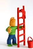 De reinigingsmachine van het venster met ladder en doek Stock Afbeeldingen