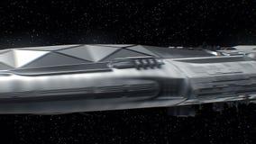 De reis aan Mars, Ruimteschip die sc.i-FI aan planeet, motoren naderbij komen pulseert, 3d animatie De textuur van de planeet was royalty-vrije illustratie