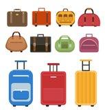 De reis doet pictogramreeks, vlakke stijl in zakken De zakken van de bagagereis die op een witte achtergrond worden geplaatst Vas Stock Fotografie