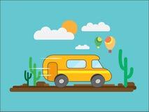 De reis door minibus door de woestijn of Savanne tegen een achtergrond van wolken en ballons Vector illustratie stock illustratie
