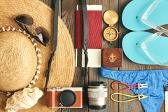 De reis en de strandvlakte lagen Stock Foto's