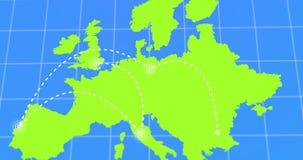 De reis en de Zakenreis Infographic op Groene de Aardekaart van Europa 4k gaven Video terug Royalty-vrije Stock Fotografie