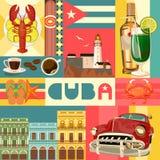 De reis kleurrijk vastgesteld concept van Cuba met Cubaanse vlag Cubaanse strandtoevlucht Onthaal aan Cuba gebruik voor Webontwer royalty-vrije illustratie