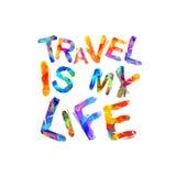 De reis is mijn leven Vectorinschrijving Royalty-vrije Stock Afbeelding