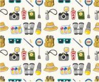 De reis naadloos patroon van het beeldverhaal Stock Fotografie