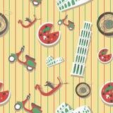De reis naadloos patroon van Italië met nationaal Italiaans voedsel, Vector Illustratie