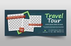 De reis reist collectief bannermalplaatje, de horizontale reeks van het het malplaatje vlakke ontwerp reclame van de bedrijfsbann royalty-vrije illustratie
