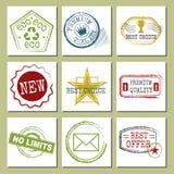 De reis stempelt de gefingeerde internationale het paspoort of de port vectorillustratie van tekenkaarten van luchthavensymbolen  Royalty-vrije Stock Foto
