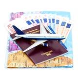 De reis van de lucht en Euro Stock Afbeeldingen