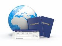 De reis van de wereld. Aarde, luchtvaartlijnkaartjes en paspoort. 3d Stock Afbeelding