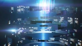 De reis van de gegevenstunnel Loopableanimatie Geschotene binnen vezeloptische kabel Futuristische abstracte achtergrond grafisch vector illustratie