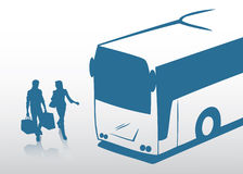 De reis van het paar met de bus vector illustratie