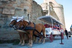 De reis van het paardvervoer in Carcassonne, Frankrijk Royalty-vrije Stock Afbeelding
