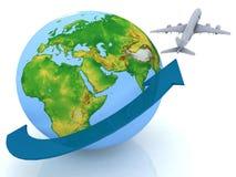 De reis van het vliegtuig Stock Afbeelding
