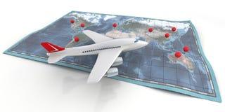 De reis van het vliegtuig op kaart Stock Foto's