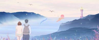 De reis van de paarvakantie, alpinisme om de prachtige overzeese zonsopgang, illustratie van de walvis de klappende nevel te zien stock illustratie