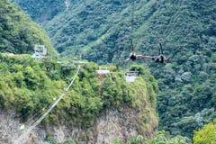 De reis van de pitlijn, Cascadesroute, Banos, Ecuador Stock Foto