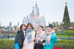 De reis van Shanghai Disneyland van toerist stock afbeelding