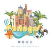 De reis vectorconcept van Portugal in heldere vlakke stijl met de gebouwen van Lissabon en Portugese herinneringen royalty-vrije illustratie