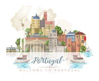 De reis vectorconcept van Portugal in moderne vlakke stijl met de gebouwen van Lissabon en Portugese herinneringen royalty-vrije illustratie