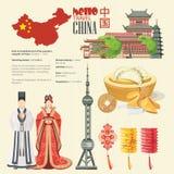 De reis vectorillustratie van China met infographic Chinees plaatst met architectuur, voedsel, kostuums, traditionele symbolen Ch Royalty-vrije Stock Afbeeldingen