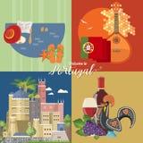 De reis vectorkaart van Portugal in heldere vlakke stijl met de gebouwen van Lissabon en Portugese herinneringen vector illustratie