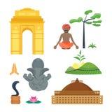 De reis vectorpictogrammen van India Stock Afbeeldingen