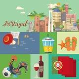 De reis vectorprentbriefkaar van Portugal in heldere vlakke stijl met de gebouwen van Lissabon en Portugese herinneringen royalty-vrije illustratie