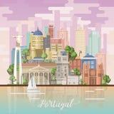 De reis vectorvlieger van Portugal in heldere vlakke stijl met de gebouwen van Lissabon en Portugese herinneringen royalty-vrije illustratie