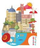 De reis vectorvlieger van Portugal in moderne vlakke stijl met de gebouwen van Lissabon en Portugese herinneringen stock illustratie