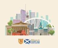 De reis vectorvlieger van Schotland in moderne stijl Schotse landschappen royalty-vrije illustratie