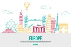 De reisachtergrond van Europa met plaats voor tekst Stock Foto's