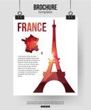 De reisachtergrond van Frankrijk Brochure met de kaart van Frankrijk Stock Foto's