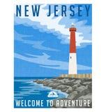 De reisaffiche of sticker van New Jersey Stock Fotografie