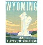 De reisaffiche of sticker van Wyoming Stock Foto's