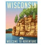 De reisaffiche van Wisconsin, Verenigde Staten stock illustratie