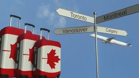 De reisbagage die vlag van Canada, vliegtuig en stad kenmerken ondertekent het post Canadese toerisme conceptuele 3D teruggeven vector illustratie