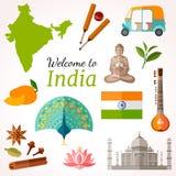 De Reisbanner van India Het vector vlakke ontwerp van de stijlvlieger Royalty-vrije Stock Fotografie
