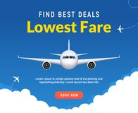 De reisbanner van de vluchtreis voor online het boeken Vector van het de verkoopontwerp van het Vliegtuigkaartje online promomalp vector illustratie