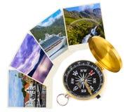De reisbeelden en kompas van Noorwegen (mijn foto's) Stock Foto's