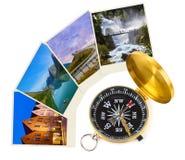 De reisbeelden en kompas van Noorwegen (mijn foto's) Stock Afbeelding