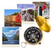 De reisbeelden en kompas van Noorwegen (mijn foto's) Stock Foto