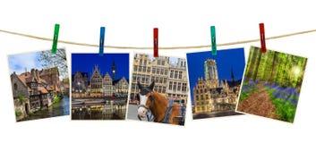 De reisbeelden van België mijn foto's op wasknijpers Stock Afbeelding