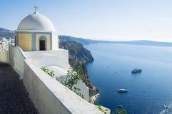 De reisbestemming en landschap van het Santorinieiland Stock Afbeeldingen