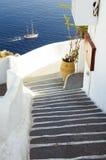 De reisbestemming en landschap van het Santorinieiland Stock Fotografie